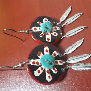 Silver Plated Feathers Turquoise Stone Earrings